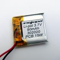 Аккумулятор Li-pol 302020 3.7V 90mAh PCB 15W