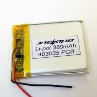 Аккумулятор Li-pol 403035 3.7V 380mAh PCB 24W