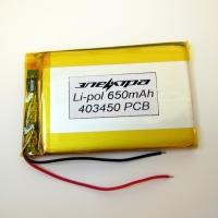Аккумулятор Li-pol 403450 3.7V 650mAh PCB 24W