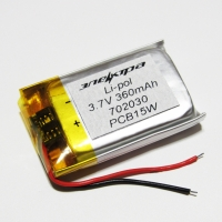 Аккумулятор Li-pol 702030 3.7V 360mAh PCB 15W